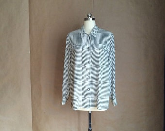 1990's oversized houndstooth blouse / womens shirt / box cut / button down / 90's chic