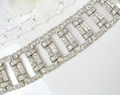 Authentic Art Deco Rhinestone Bracelet, 1920s 1930s Paste Crystal Wide Link Flapper Bridal Bracelet, Antique Downton Abbey Great Gatsby