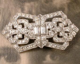 Art Deco Bridal Hair CLIP, OOAK Antique 1920s Dress Clips Hair Accessory Downton Abbey Paste Crystal Gatsby Wedding Hairpiece Headpiece Comb