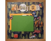 HUNTING BUDDIES Pre-made Memory Album Page (Gallery Wood Shadow Box Frame Sold Separately)