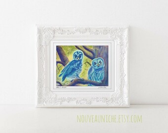 Owl Painting Art Print Home Decor Owl Art Owls Owl Wall Art Bird Art Pastel Owl Painting Nursery Picture