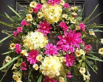 Wreath, Pink and Yellow Summer Wreath, Door Wreath, Garden Wreath, Hydrangea Wreath, Dahlia Wreath,