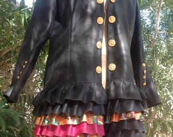 showdiva designs Distressed Black Leather Military Inspired Coat Asymmetrical