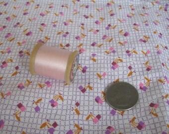 Antique Vintage Quilt Fabric Bundle Scraps Novelty Tiny Purple Pink & Spool of Thread