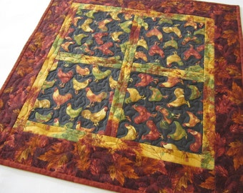 Quilted Table Topper, Roosters and Hens, Table Top, Handmade Table Topper, Fall, Home Decor
