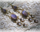 Antique Style Victorian Edwardian Celestial Dragons Breath Earrings - Violet Tanzanite Glittering Art Glass Dragons Breath Fire Opals