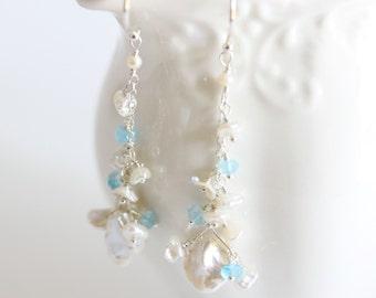 Pearl Cascade Earrings, White, Cascade Earrings, Light Blue, Sapphire, Sterling Silver