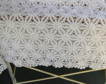 Vintage Crocheted Tablecloth, white