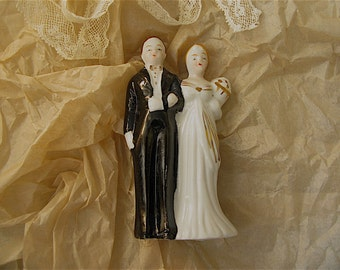 Vintage Wedding Cake Topper, Wedding Couple,bride, groom, ceramic, porcelain
