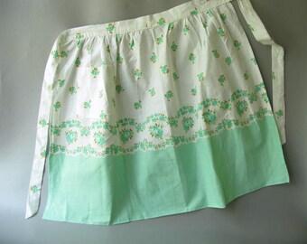 Vintage Cotton Print Apron,Mint green, Floral, flowers, half