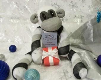 Finley the White Sock Monkey with Black, Gray, and White Diagonal Stripes Stuffed Toy