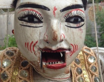 Jeweled Burmese Marionette – Large Hand Painted Puppet Articulated Hands Mouth