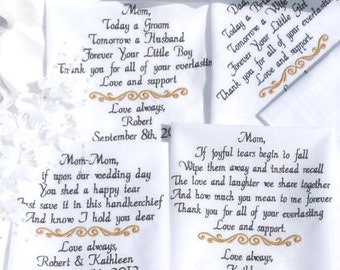 Personalized Set of 4 Embroidered Wedding handkerchiefs Mother & Father of the Bride In-Law Parents Gifts Handkerchief By Canyon Embroidery