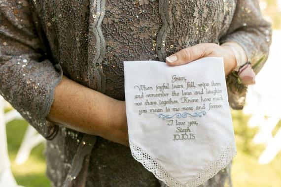 Grandmother Wedding Gift: Wedding Handkerchief Gift For Grandma Wedding Gift For
