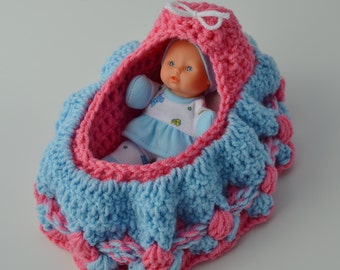 Cradle Purse Baby Doll Set including Doll, Blanket, Pillow, Bottle and Rattle