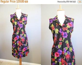 20% Off FALL SALE Floral Dress Vintage 1990s Black Grunge Mini Medium