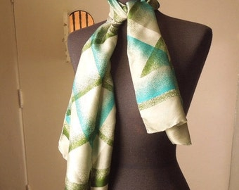 END of SUMMER SALE Vintage 70's Scarf, Oblong, by Echo, Olive Green, Teal, Off White on Gray Green with Abstract Plaid Design.