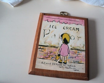 1960s Flavia Wall Plaque by Gibson. Girl and Ice Cream Shop.