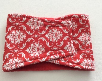 Male Dog Diaper - Belly Band - Belly Wrap - Red and White Damask - Available in all sizes
