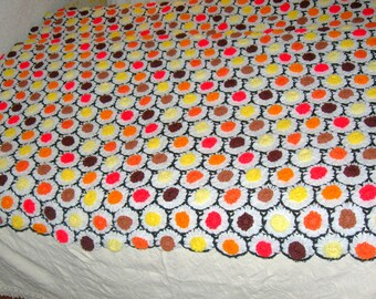 Vintage Handmade Raised Flowers Afghan-Free Gift Wrapping/Free USA Shipping