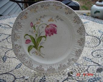The French Saxon China Co. Pink Tulip Plate - Sebring, Ohio U.S.A. - Rare