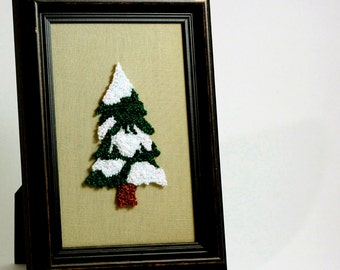 Ready to Ship! Snowy Pine Tree. Framed Christmas Wall Art. Holiday Home Decor. Punchneedle Embroidery. Green and White. Fiber Art