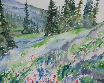 Watercolor - Mountain Pines and Indian Paintbrush