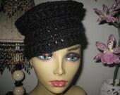 crochet black hat scull toque