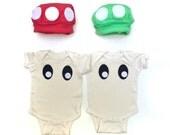 Mushroom Twin Kids Costume, Video Game Mushroom Baby Costume