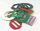 PLASTIC and METAL BUCKLES, Mixed Colors, Lot of 10, Vintage Accessories, Sewing Supply