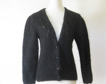 Vintage 1960s Mohair Sweater Black Batwing Slouchy Midnight Ebony Jet Black Cardigan 60s Mod Boho Chic Indie Hipster Small Medium S M
