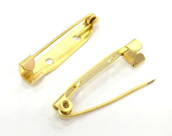 4 Pcs Gold Plated Brooch Pin 30 mm G4508