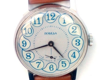 25% OFF ON SALE Wrist watch mens watch Pobeda grey watch men watch, men's mechanical watch,