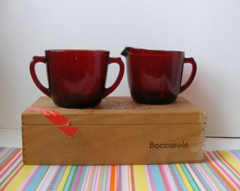 Royal Ruby Red Cream Sugar Set Anchor Hocking Fire King 1950s