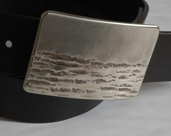 "Silver Hand Forged Canadian Landscape Belt Buckle Artisan Signed Original Stainless Steel Hypoallergenic Fits 1.5"" Leather Belt for Jeans"