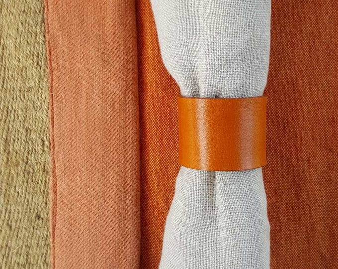 4 Leather Napkin Ring Orange, Chartreuse, Purple ~Wedding ~ Dining ~ Alfresco ~ Housewarming ~ Hostess Gift ~ Home Decor ~ Kitchen Accessory