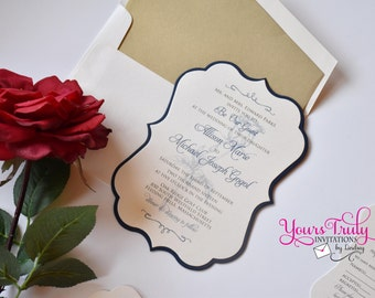 Sample   Be Our Guest Beauty And The Beast Rose Themed Wedding Or Party  Invitation In
