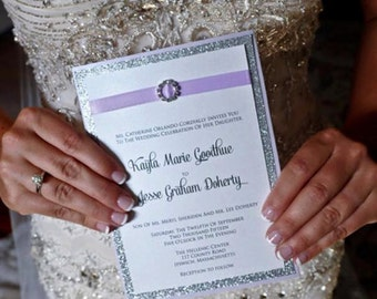 Sample - Affordable Dainty Custom Crystal Buckle Panel Style Wedding Invitation shown in lavender and Silver Glitter or your colors