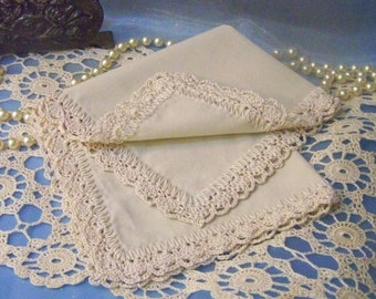 Ladies Handkerchief, Hanky, Hankie, Hand Crochet, Off White, Lace, Lacy, Embroidered, Personalized, Monogrammed, Custom, Ready to ship