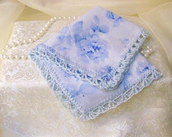 Blue Rose Handkerchief, Hanky, Hankie, Bridal, Something Blue, Hand Crochet, Lace, Personalized, Monogrammed, Embroidered, Ready to ship