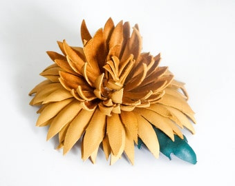 Mustard Leather Chrysanthemum Flower Hair Comb Handmade / Gift for her / Wedding Anniversary Gift / Hair Accessories