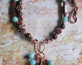 Autumn Basking -- Bronzite Copper Amazonite Red Jasper Necklace