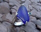 Cobalt Blue Sea Glass Ring   Beach Glass with Blue topaz