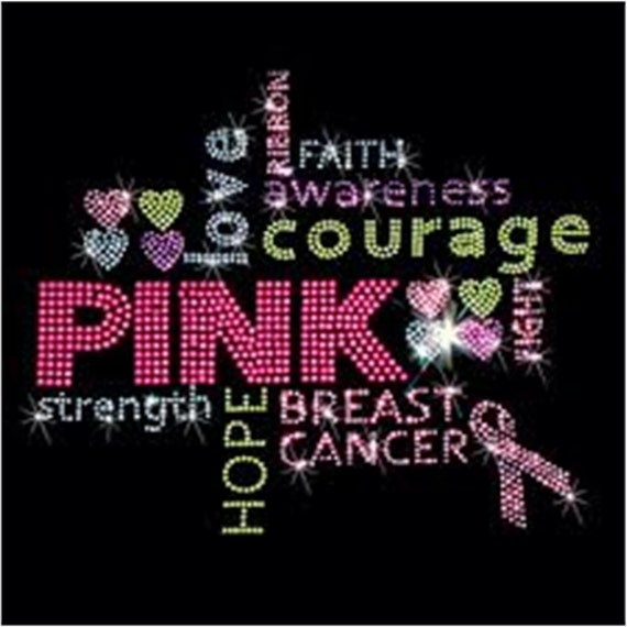 Breast Cancer Awareness Rhinestone T-Shirt Sizes S-4XL - Word Titles In Different Colors