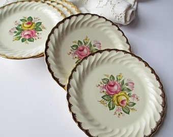 Vintage Bread and Butter Plates Royal Quban 22 K Gold Trimmed Floral Set of Six