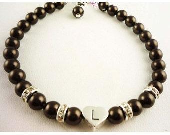 Rhinestone Crystal Custom Personalized Wedding Bracelet for Flower Girls- Deep Mocha Brown