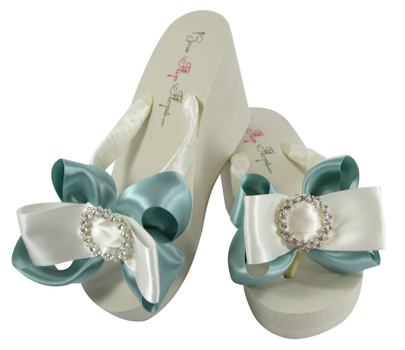 Bridal Flip Flops with Sea Mist Green Bows & Regal Circle Rhinestone Bling- Bride Bridesmaid Flip Flop Wedges or Flats, Heel Thongs Shoes