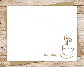 PRINTABLE personalized stationery . coffee notecards . coffee note cards . cup o joe . FLAT stationary . coffee lover . You Print