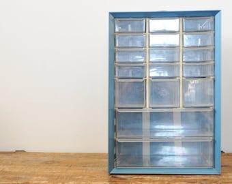 Vintage Akro Mils 17 Drawer Blue Metal Storage Organizer Cabinet