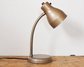 Vintage Goose Neck Table Lamp Marks Adjustable Desk Light Taupe Metal Retro Mid Century Office Reading